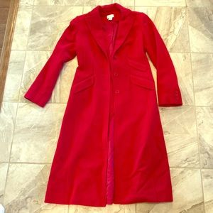 Loft red wool coat size 2